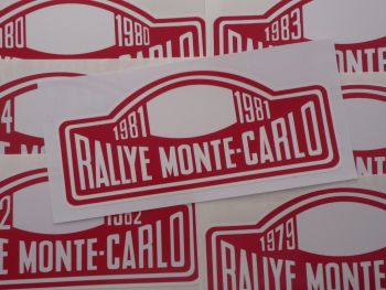 "Monte-Carlo Rallye Rally Plate Stickers. 1975 - 2000. 16""."
