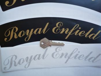 "Royal Enfield Curved Gold Cut Text Sticker for Motorcycle Front Number Plate. 10""."