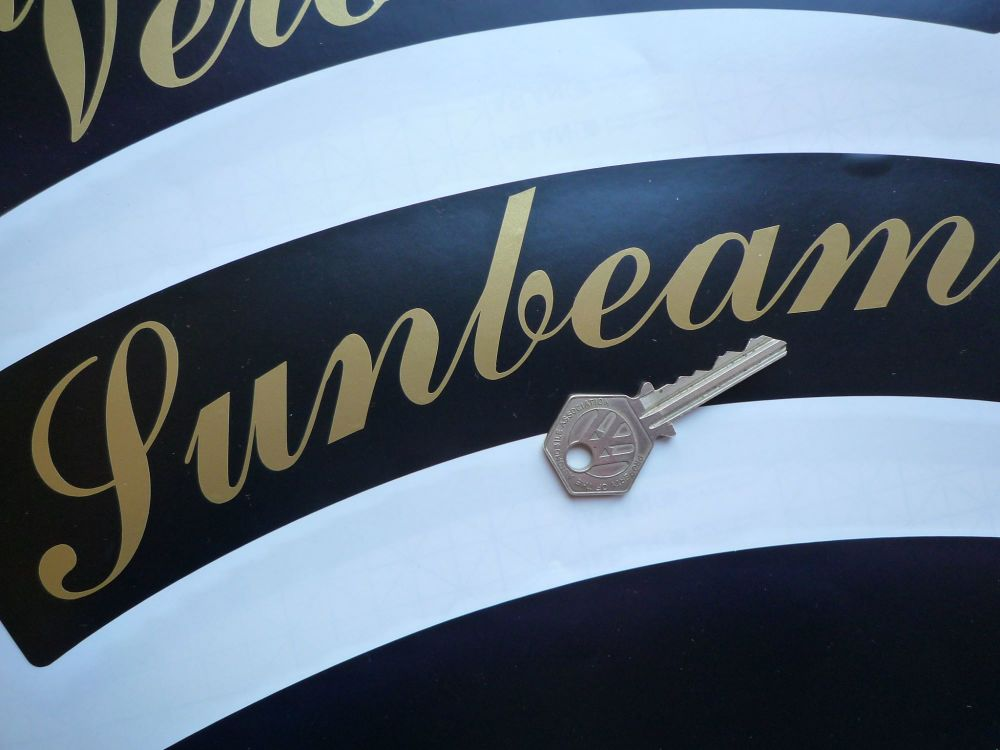 "Sunbeam Curved Gold Cut Text Sticker for Motorcycle Front Number Plate. 10""."