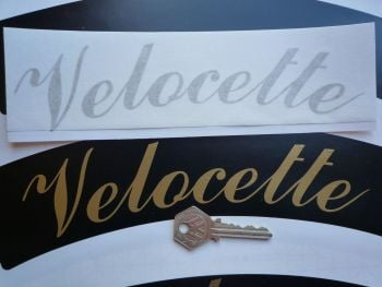 "Velocette Curved Gold Cut Text Sticker for Motorcycle Front Number Plate. 10""."