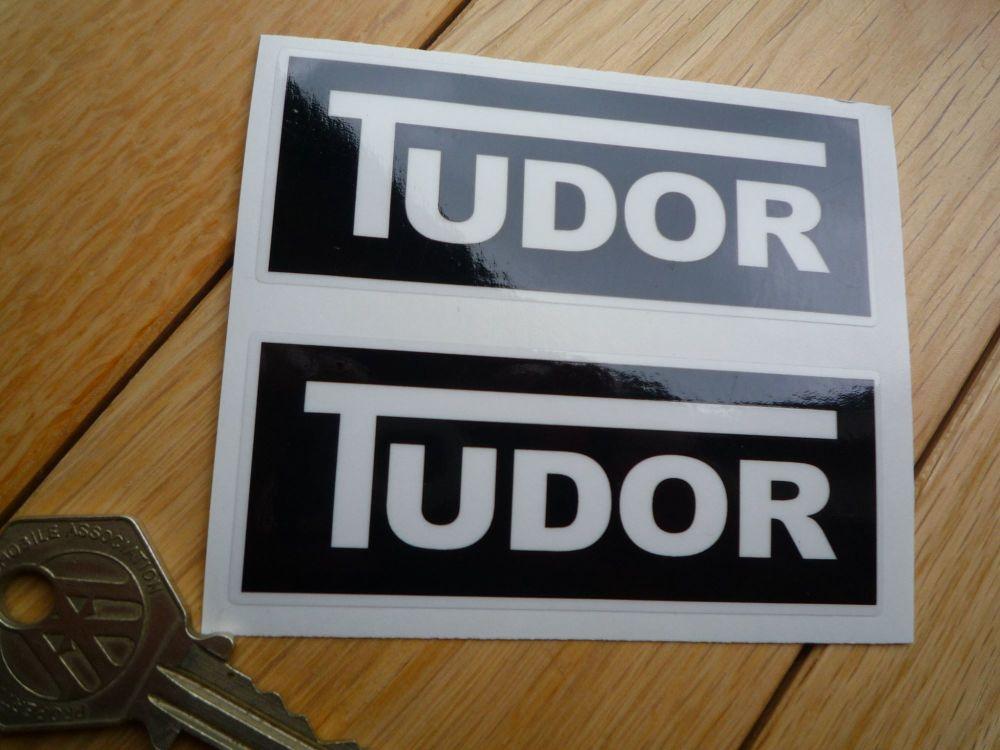 Tudor Windscreen Washer Black Stickers. 85mm Pair.