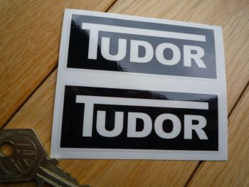 Tudor Windscreen Washer Black & Clear Stickers. 85mm Pair.