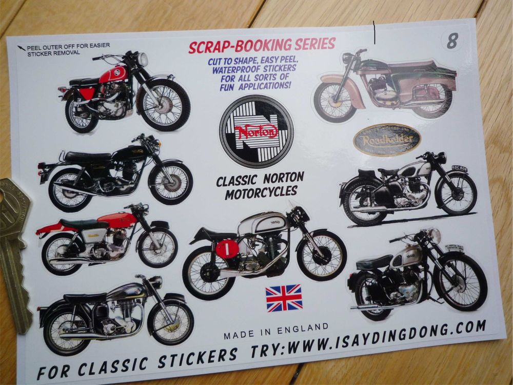 NORTON MOTORBIKE GOLD DECALS CLEAR BACKGROUND PAIR OF