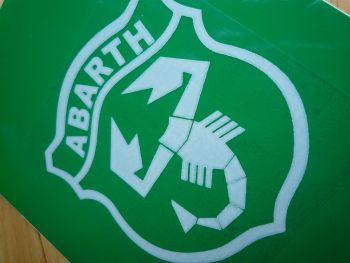"Abarth Shield White & Clear Self adhesive Car Sticker. 3""."