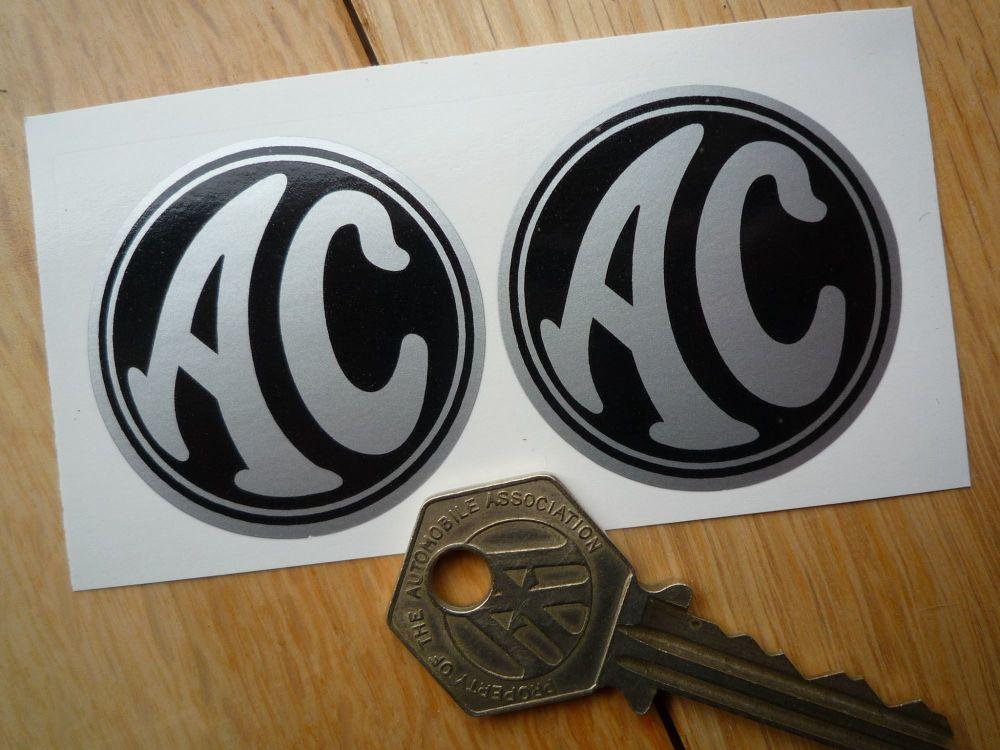 AC Cars Black & Silver Circular Stickers. 44mm Pair.