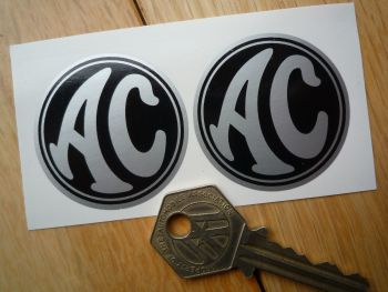 AC Cars Black & Silver Circular Stickers. 44mm Pair.