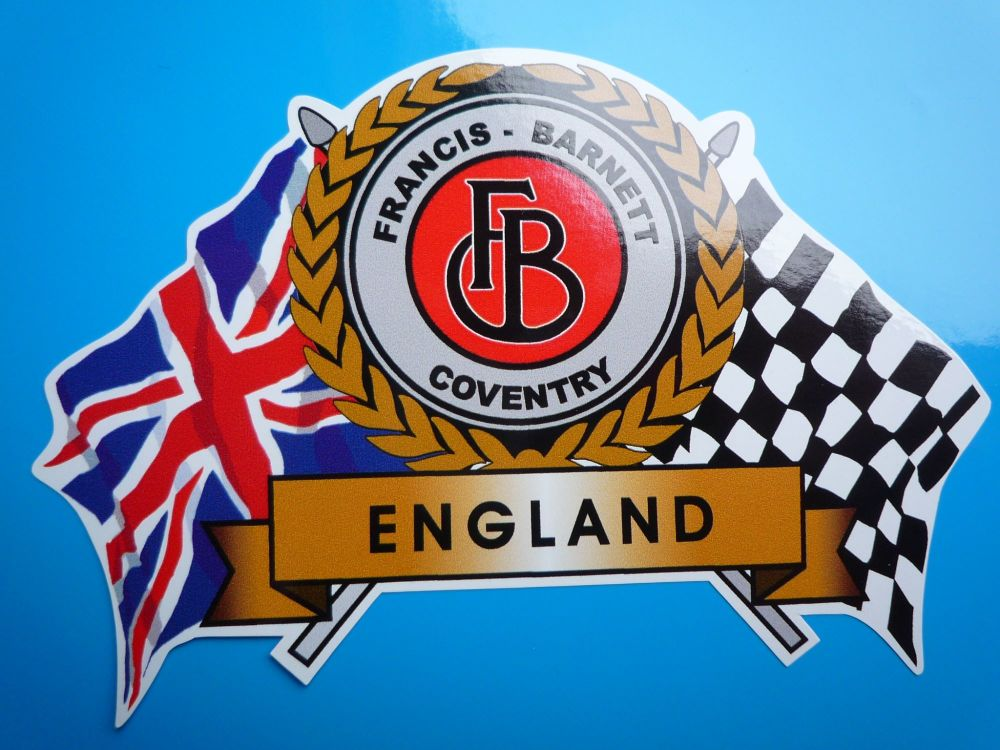 "Francis Barnett Flag & Scroll Sticker. 3.75""."