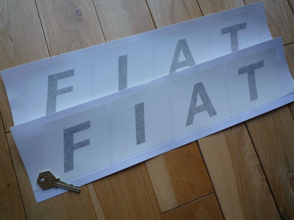 """Fiat Large Text in Blocks Oblong Stickers. 17"""" Pair."""