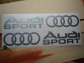 "Audi Sport Cut to Shape Stickers with Hoops. Various Colours. 20"" Pair."