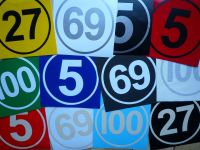 Cut Vinyl Racing Number & Border Stripe Style Roundels. Various Colours & Sizes. Set of 3.