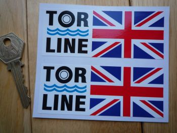 "Tor Line Union Jack Style Stickers. 4"" Pair."