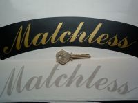 "Matchless Curved Gold Cut Text Sticker for Motorcycle Front Number Plate. 10""."