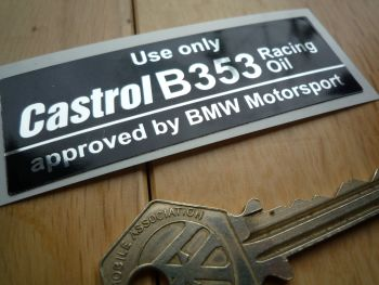 Castrol B353 Racing Oil approved by BMW Motorsport BMW M12 M3 F2 Cambox Sticker. 80mm.
