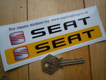 "Seat Number Plate Dealer Logo Cover Stickers. 5.5"" Pair."