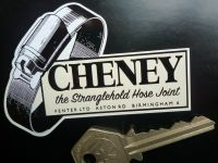 "Cheney 'The Stranglehold Hose Clip' Shaped Stickers. 3"" Pair."