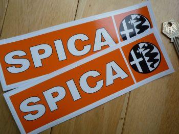 """SPICA Alfa Romeo Orange & Black Oblong Stickers. 8"""" Pair."""