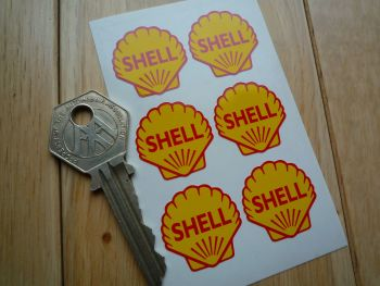 Shell Classic Red & Yellow Shaped Logo Stickers. Set of 6. 25mm.