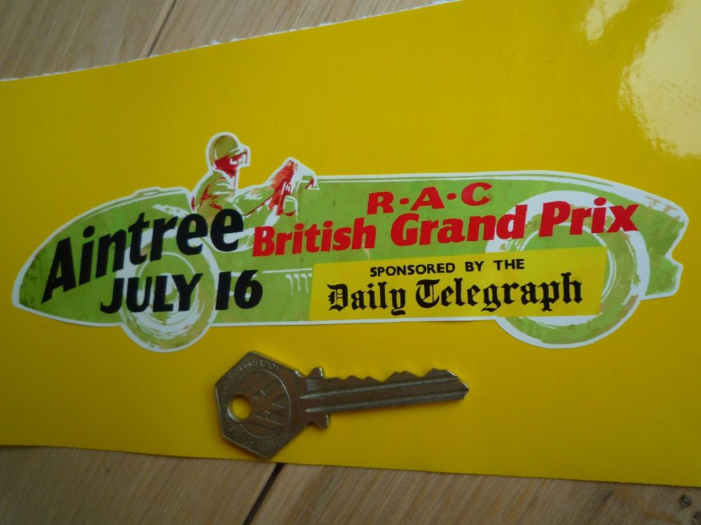 Aintree RAC Daily Telegraph 1955  British Grand Prix Car shaped Sticker. 7