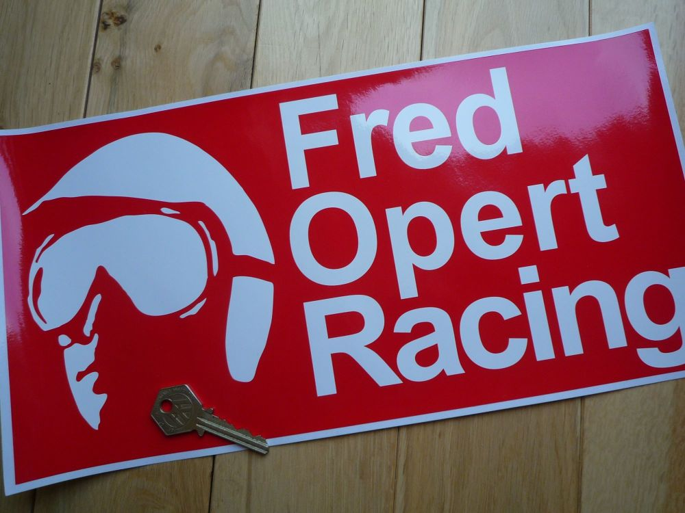 Fred Opert Racing Red & White  Oblong Sticker. 14