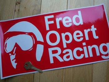 "Fred Opert Racing Red & White Oblong Sticker. 14""."