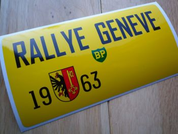 "Rallye Geneve 1963 Oblong Rally Plate Sticker. 16""."