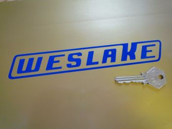 "Weslake Slanted Oblong Cut Vinyl Stickers. 7.5"" Pair."