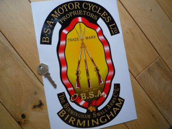 "BSA Piled Arms Large Style Sticker. 6"" or 12""."