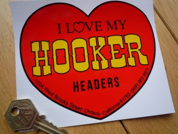 "Hooker Headers Heart Shaped Sticker. 5""."