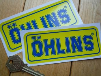 "Ohlins Bright Blue & Yellow Oblong Stickers. 4.75"" Pair"
