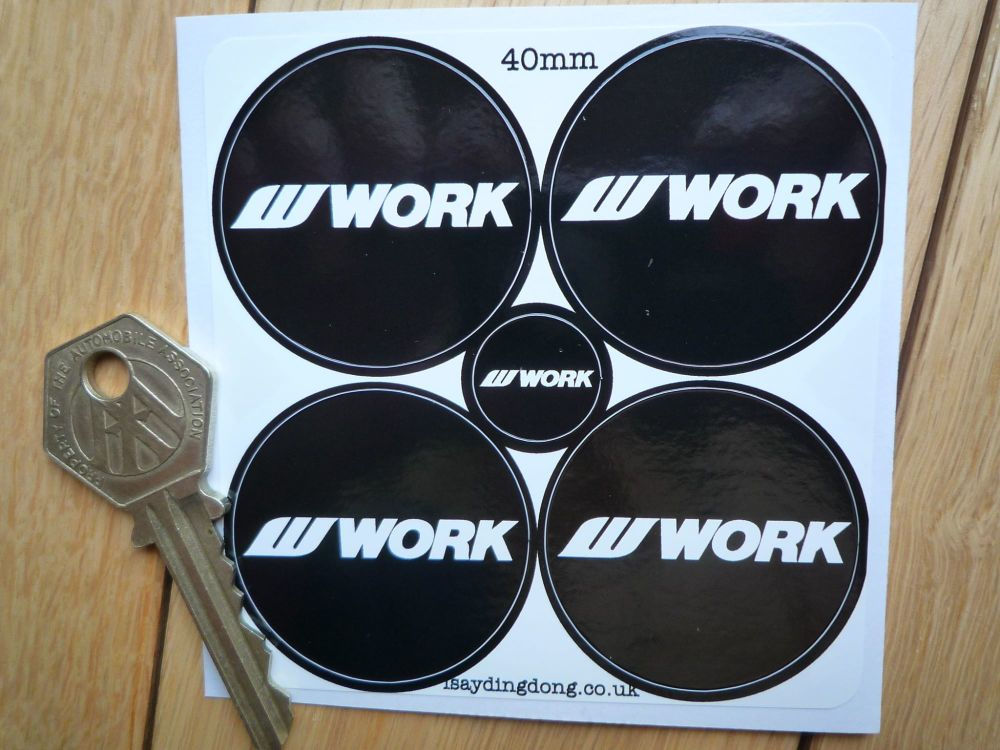 WORK Black & White Wheel Centre Stickers. 40mm Set of 4.