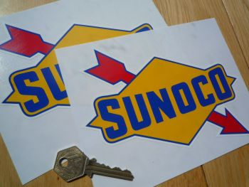 "Sunoco Old Style Blue Edge Stickers. 6.5"" Pair."