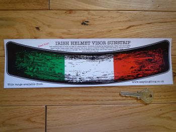 "Irish Tricolore Worn & Distressed Style Helmet Visor Sunstrip Sticker. 12""."