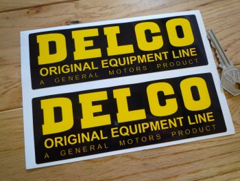 "Delco Original Equipment Line Oblong Stickers. 6"" Pair."