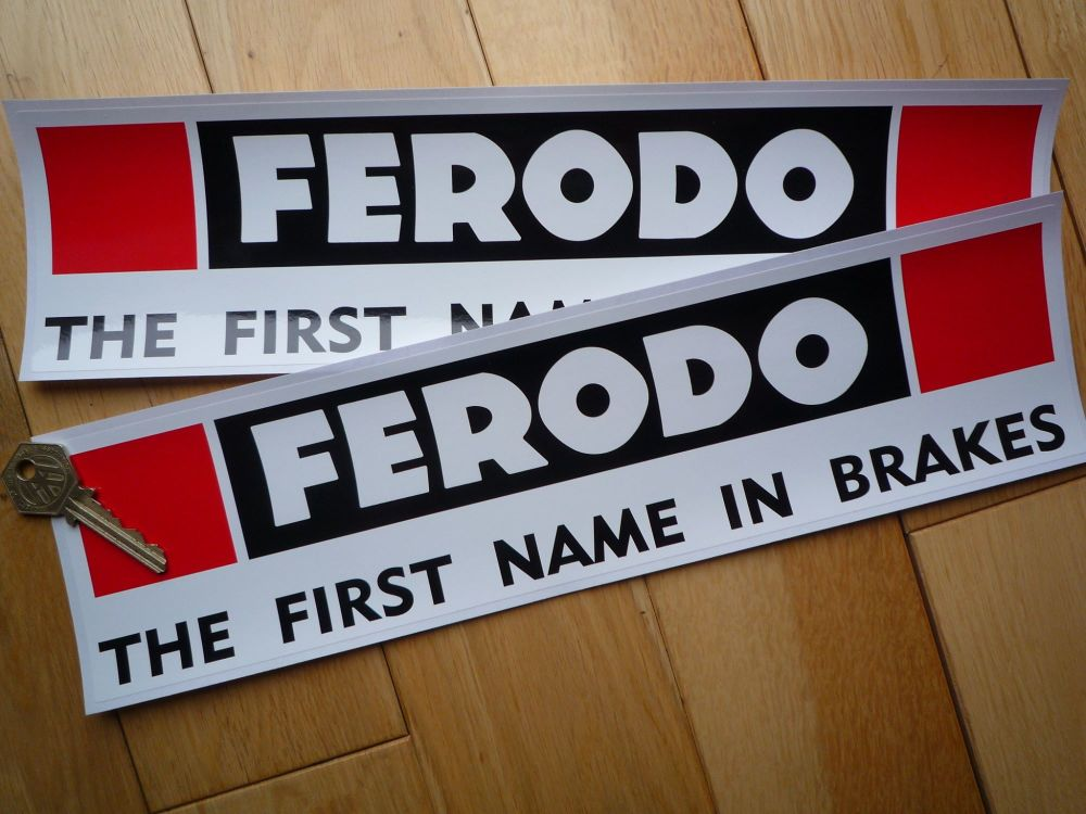 """Ferodo 'The First Name In Brakes' Larger Style Oblong Stickers. 13"""" Pair."""