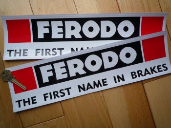 "Ferodo 'The First Name In Brakes' Larger Style Oblong Stickers. 13"" Pair."
