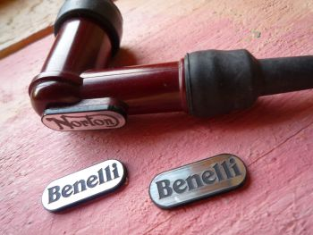 Benelli NGK Spark Plug HT Cap Cover Badges. 22mm Pair.