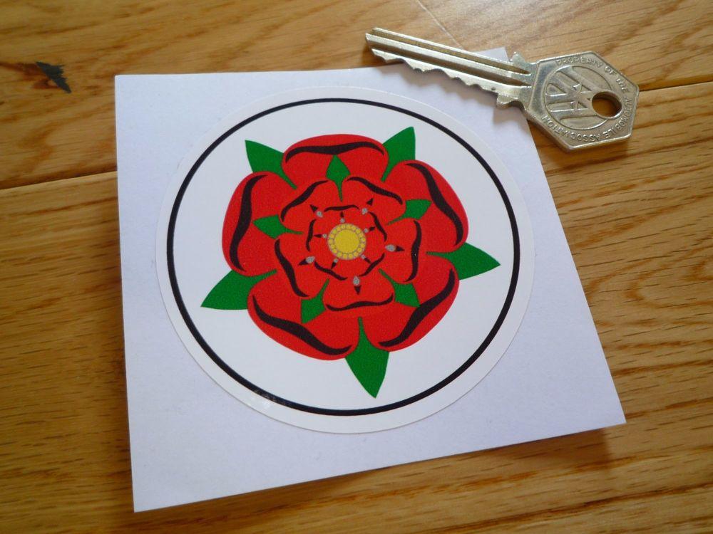 """Lancashire Red Rose Circular Sticker. 3""""."""