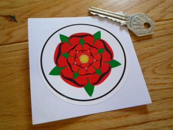 "Lancashire Red Rose Circular Sticker. 3""."