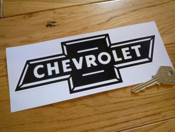 "Chevrolet Dicky Bow Black & White Sticker. 8""."
