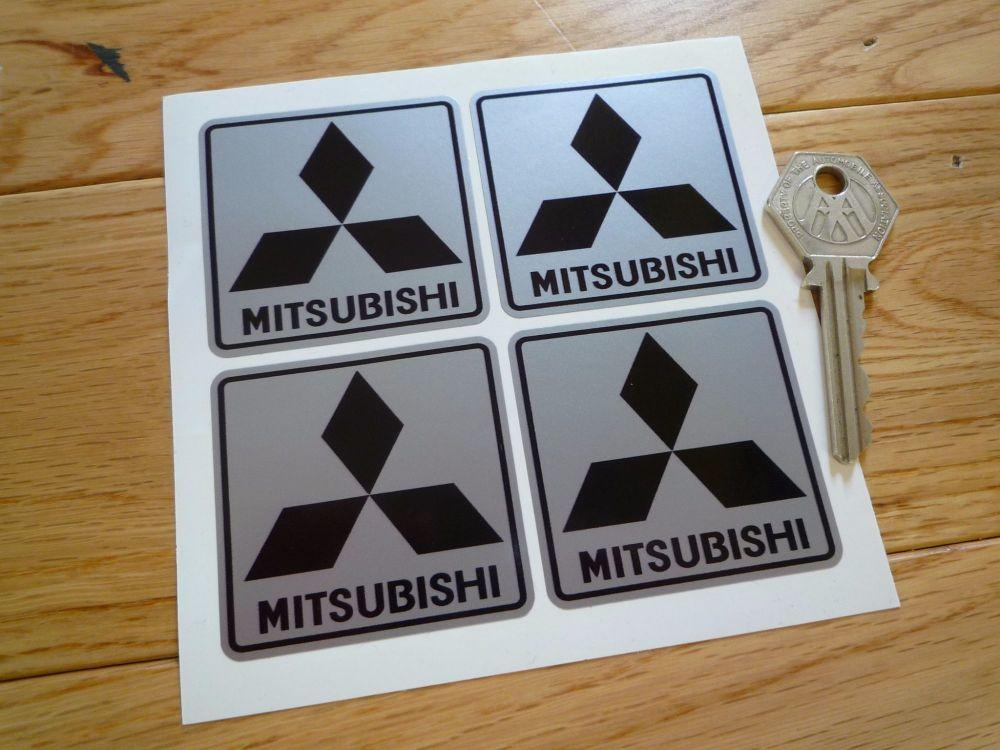 "Mitsubishi Black & Silver Stickers. Set of 4. 2""."