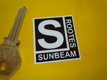 "Sunbeam Rootes Black & White Stickers. Set of 4. 1.5""."
