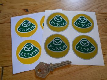 Eunos Mazda Bordered Wheel Centre Stickers. Set of 4. 50mm.