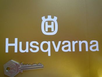 "Husqvarna Cut Text & Logo Sticker. 6""."