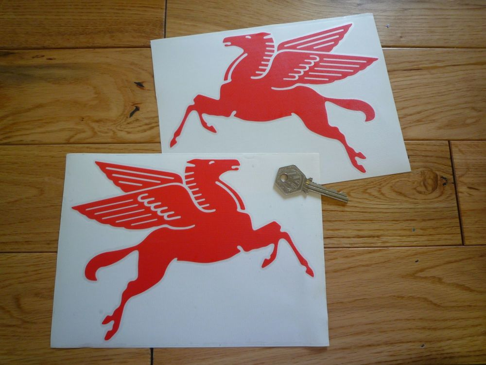 """Mobil Later Pegasus Cut Vinyl Stickers. 8"""" Pair."""