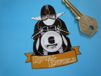 "Royal Enfield Pudding Basin Helmet & White Scarf Cafe Racer Sticker. 3""."
