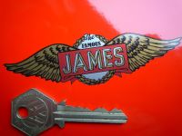 The Famous James Simple Winged Logo Sticker. 3, 4