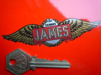 "The Famous James Simple Winged Logo Sticker. 3, 4"" or 8""."