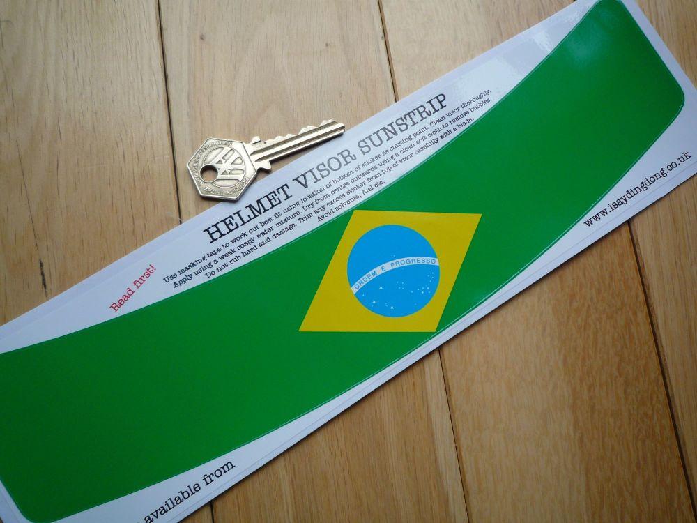 Brazilian Flag Helmet Visor Large curved Sunstrip Sticker. 12