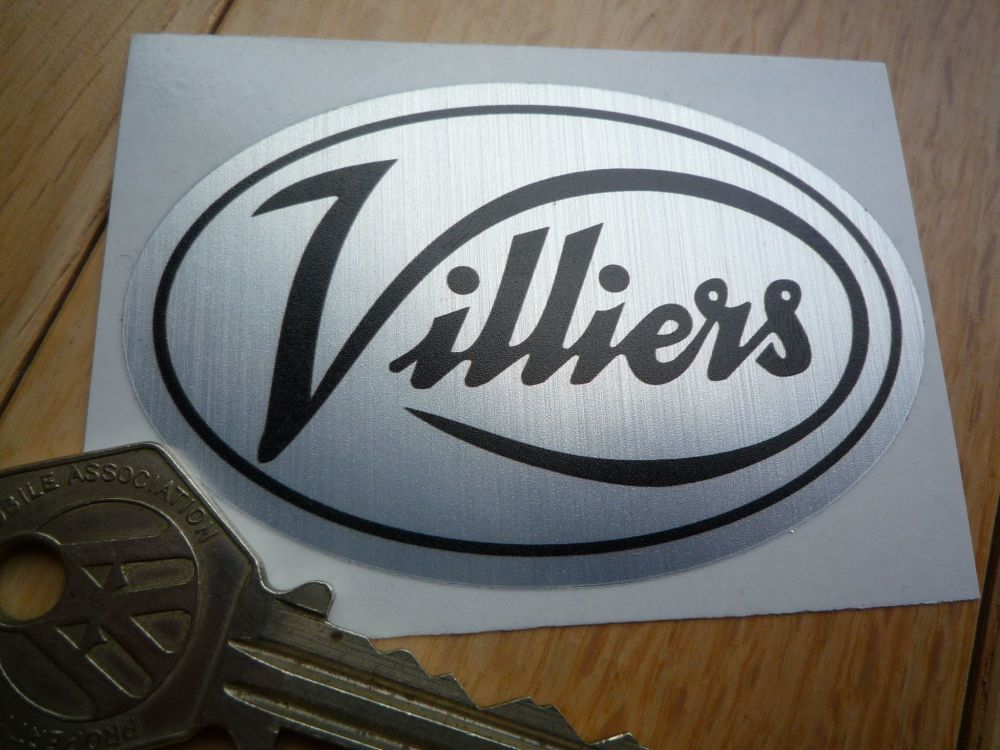 """Villiers Black & Brushed Aluminium Thick Foil Oval Sticker. 3""""."""