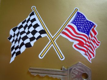"Crossed USA Stars & Stripes & Chequered Flag on White Sticker. 4""."